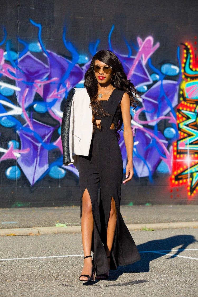 800f474edfd8 Wild Ones Cut Out Jumpsuit  Fashion Nova I Sunglasses  Fashion Nova I Black  Heels  Fashion Nova I Black   White Leather Jacket  H M Photography by   Chris ...